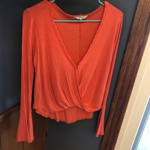 Lucky Brand Faux Wrap Top - Coral